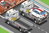 Isometric Tow Truck in Car Assistance in Rear View