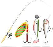 Fishing rod, reel and lures. Vector