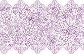 Purple lace grape vines horizontal seamless pattern background border