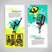 Music banners with hand drawn illustration and dance girl silhou