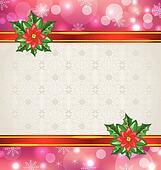 Christmas elegant card with flower poinsettia