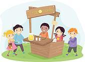 Stickman Kids on a Lemonade Stand