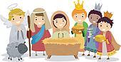 Stickman Kids in Nativity School Play