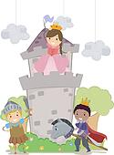 Stickman Kids in Princess and Knights School Play