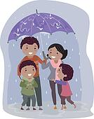 Stickman Family in Under an Umbrella in the Rain