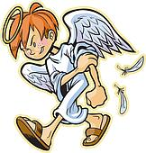 scrappy angel with red hair vector
