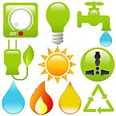Vector Icons: Energy Saving