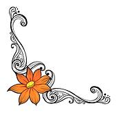 A border with an orange flower