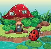 A bug dancing near the mushroom house