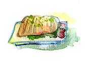 hot steak on the pan watercolor drawing