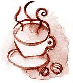 coffec cup watercolor brown tone