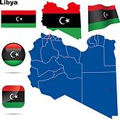 Libya vector set. Detailed country shape with region borders, fl