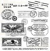 Vector Retro Air Mail Stamps