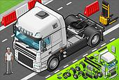 Isometric Tow Truck Only Cab in Front View