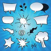 Speech Bubbles, Explosion And Splashes Set