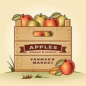 Retro crate of apples