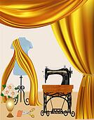 background with a sewing machine and a mannequin curtain