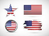 usa set of different flags. illustration