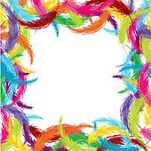 Frame made of colored feathers