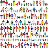 Background with people and children patternes in flags of World