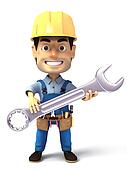 3d image handyman holding wrench
