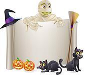 Halloween Mummy Scroll Sign