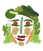 female face made of vegetables