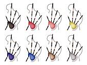 A Set of Colorful Bagpipe on White Background