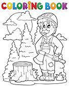 Coloring book lumberjack theme 1