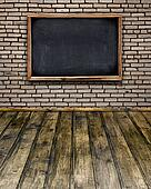Blank chalkboard menu hang on brick wall in room style