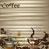 Coffee vector background with wooden texture