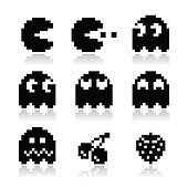 Pacman, ghosts, 8bit retro icons