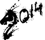 2014 new year grunge horse