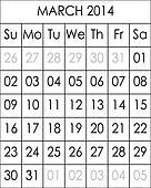 Planner Calendar March 2014  big eps file