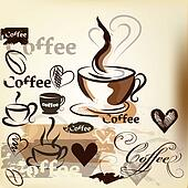 Coffee  vector background with hand drawn cups, signatures and hearts for design