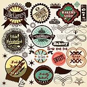 Collection  of vintage vector food labels bakery and sweets