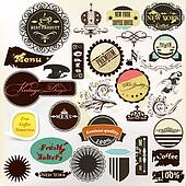 Collection of vintage grunge labels for your retro design