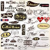 Collection of old styled vector signatures and labels cafe, coff