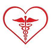 Caduceus in heart medical symbol .
