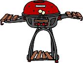 Vector of Red Standing BBQ