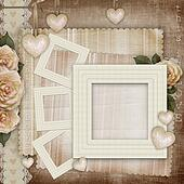 Vintage love card with  hearts and pink roses