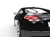 Black Powerful Car Back View