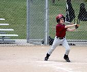Youth baseball player at bat