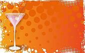 Pink martini on grunge orange background