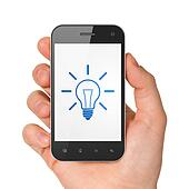 Finance concept: Light Bulb on smartphone
