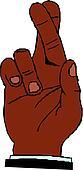 hand shoving crossed fingers