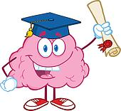 Happy Brain Holding up A Diploma