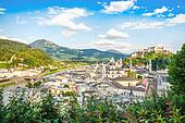 Beautiful view of the historic city of Salzburg