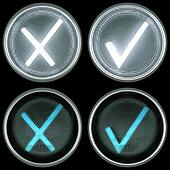Collections of switch controls or buttons: accept and cancel