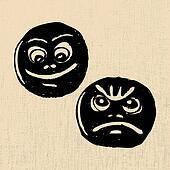 Lucky and sad masks
